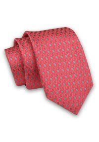 Czerwono-Szary, Malinowy Elegancki Męski Krawat -Angelo di Monti- 6 cm, w Koła, Kółka, Geometryczny. Kolor: czerwony. Materiał: tkanina. Wzór: geometria. Styl: elegancki