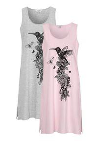 Cellbes Koszula nocna bez rękawów 2 Pack szary melanż jasnoróżowy female szary/różowy 34/36. Kolor: wielokolorowy, różowy, szary. Materiał: jersey. Wzór: melanż
