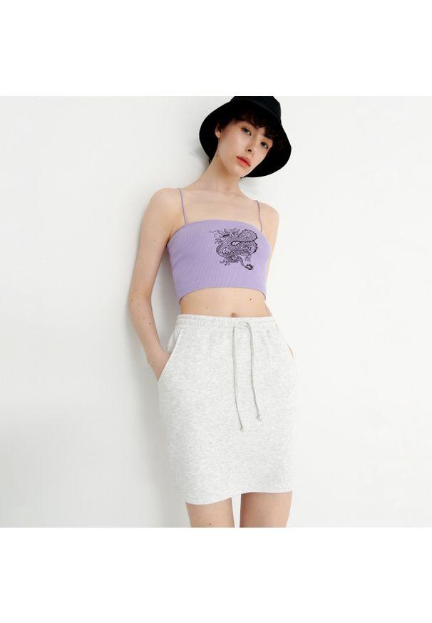 House - Dresowa spódnica mini - Jasny szary. Kolor: szary. Materiał: dresówka