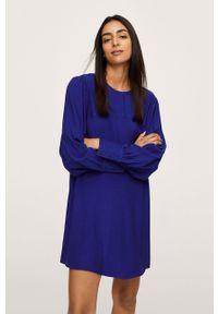 mango - Mango - Sukienka Jane. Okazja: na co dzień. Kolor: niebieski. Materiał: tkanina. Długość rękawa: długi rękaw. Typ sukienki: proste. Styl: casual