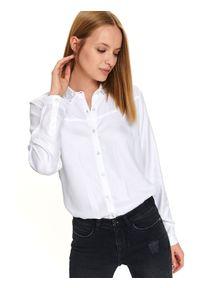 Biała koszula TOP SECRET z długim rękawem, z aplikacjami
