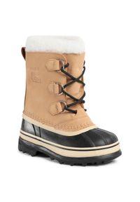 Brązowe buty zimowe sorel z cholewką