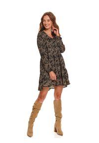 TOP SECRET - Sukienka damska z nadrukiem. Typ kołnierza: dekolt w kształcie V. Kolor: czarny. Długość rękawa: długi rękaw. Wzór: nadruk. Typ sukienki: proste