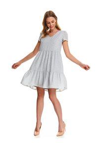 Szara sukienka TOP SECRET z krótkim rękawem, do pracy, mini, na lato
