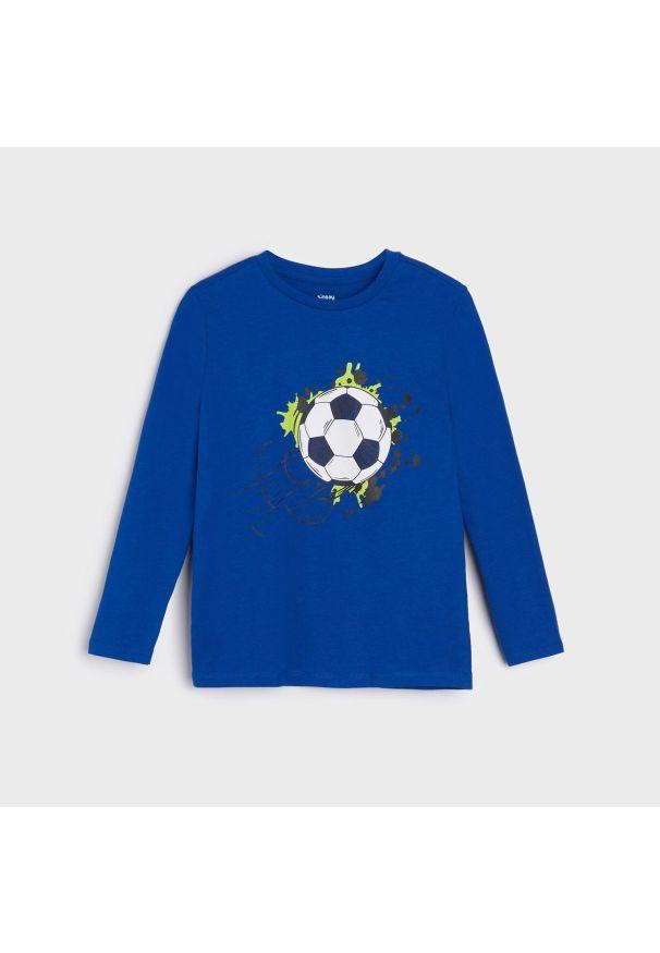 Sinsay - Koszulka z nadrukiem - Niebieski. Kolor: niebieski. Wzór: nadruk