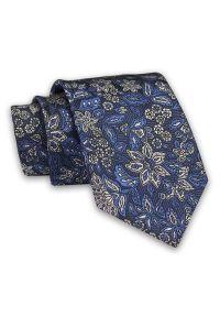 Granatowy Męski Krawat -Chattier- 8 cm, Klasyczny, Elegancki, w Niebiesko-Szary Wzór Kwiatowy. Kolor: niebieski. Materiał: tkanina. Wzór: kwiaty. Styl: klasyczny, elegancki