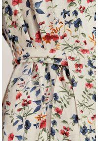 Marie Zélie - Sukienka Eliza lniana Serenada. Materiał: len. Długość rękawa: długi rękaw. Typ sukienki: szmizjerki. Styl: klasyczny