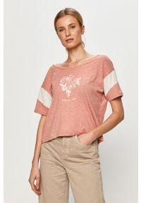 Różowa bluzka Roxy casualowa, z nadrukiem, na co dzień