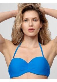4f - Kostium kąpielowy damski (góra). Kolor: niebieski. Materiał: dzianina