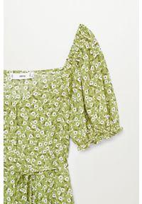 mango - Mango - Sukienka Sere-L. Kolor: zielony. Materiał: tkanina. Długość rękawa: krótki rękaw. Typ sukienki: rozkloszowane