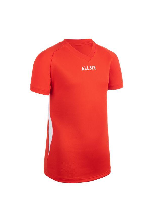 ALLSIX - Koszulka siatkarska dla chłopców Allsix V100. Kolor: biały, wielokolorowy, czerwony. Materiał: poliester, materiał
