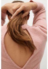 Różowy sweter mango długi, casualowy, na co dzień, z długim rękawem