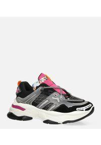 Casu - Czarne buty sportowe sneakersy sznurowane casu 20g7/b. Okazja: na co dzień. Kolor: czarny. Materiał: skóra ekologiczna, materiał