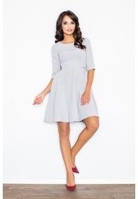 e-margeritka - Sukienka rozkloszowana szara - xl. Kolor: szary. Materiał: poliester, elastan, wiskoza, materiał. Sezon: lato, wiosna. Styl: klasyczny, elegancki. Długość: midi