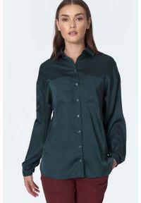 Nife - Elegancka Koszula z Kieszeniami - Zielona. Kolor: zielony. Materiał: poliester, elastan. Styl: elegancki
