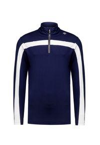 Niebieski golf Descente z golfem, w kolorowe wzory, krótki