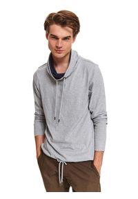 TOP SECRET - Lekka bluza z dzianiny recyklingowanej. Typ kołnierza: kołnierzyk stójkowy. Kolor: szary. Materiał: dzianina. Długość: długie. Sezon: zima