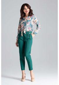 Zielone spodnie z wysokim stanem Katrus eleganckie