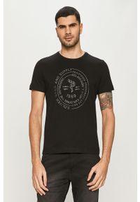 Czarny t-shirt s.Oliver z nadrukiem, na co dzień, casualowy