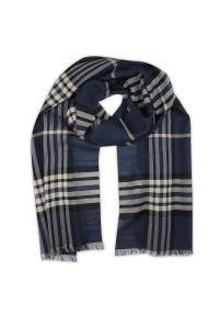 Niebieski szalik V. Fraas w kratkę, elegancki, na jesień