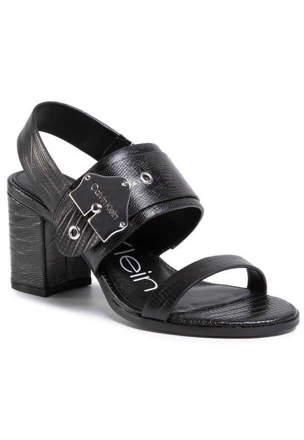 Czarne sandały Calvin Klein na co dzień, casualowe, z aplikacjami