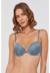 Emporio Armani Underwear - Biustonosz modelujący. Kolor: zielony. Materiał: poliamid. Rodzaj stanika: odpinane ramiączka, biustonosz z fiszbinami. Wzór: gładki