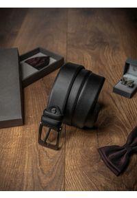 ROVICKY - Pasek męski Rovicky BOM-01-D1 105cm czarny. Kolor: czarny. Materiał: skóra. Styl: klasyczny, elegancki
