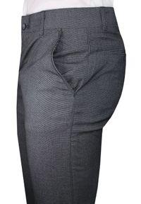 Szaro-Granatowe Casualowe Męskie Spodnie -Tomy Walker- Zwężane, Chinosy. Okazja: na co dzień. Kolor: szary, niebieski, wielokolorowy. Materiał: elastan, wiskoza, poliester. Styl: casual