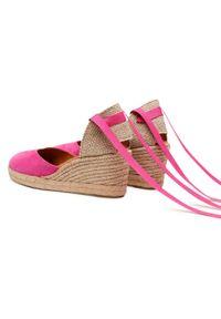 Różowe sandały Unisa na średnim obcasie, na obcasie