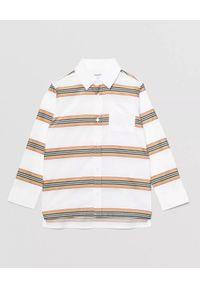 BURBERRY CHILDREN - Bawełniana koszula w paski 3-12 lat. Kolor: biały. Materiał: bawełna. Długość rękawa: długi rękaw. Długość: długie. Wzór: paski. Sezon: lato. Styl: elegancki