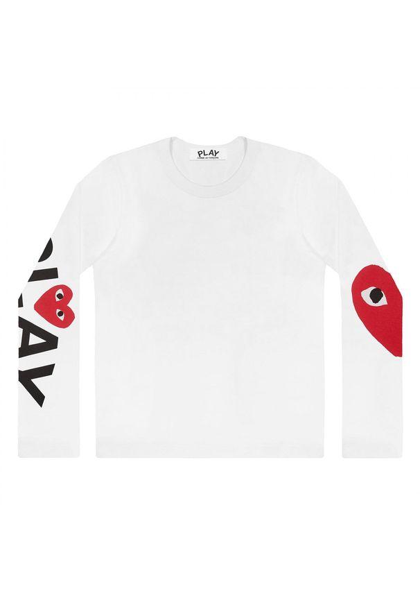 COMME DES GARCONS PLAY - Biała bluzka z monogramem. Okazja: na co dzień. Kolor: biały. Długość rękawa: długi rękaw. Długość: długie. Wzór: nadruk. Styl: klasyczny, casual