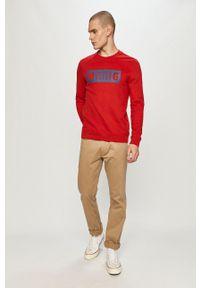 Mustang - Bluza bawełniana. Okazja: na co dzień. Kolor: czerwony. Materiał: bawełna. Wzór: nadruk. Styl: casual
