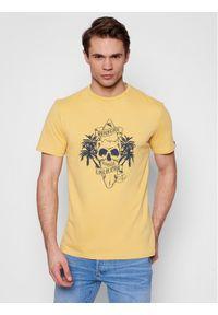 Quiksilver T-Shirt Night Surfer EQYZT06325 Żółty Classic Fit. Kolor: żółty