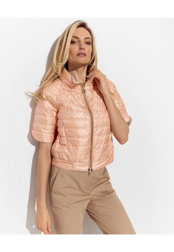 DIEGO M - Dwustronna kurtka z krótkim rękawem. Kolor: biały. Materiał: materiał. Długość rękawa: krótki rękaw. Długość: krótkie