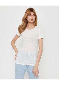 ISABEL MARANT - Biała koszulka z lnu. Okazja: na co dzień. Kolor: biały. Materiał: len. Styl: klasyczny, casual