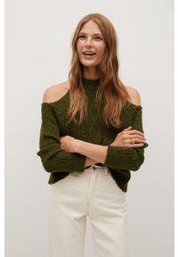Zielony sweter mango z długim rękawem, długi, na co dzień, casualowy