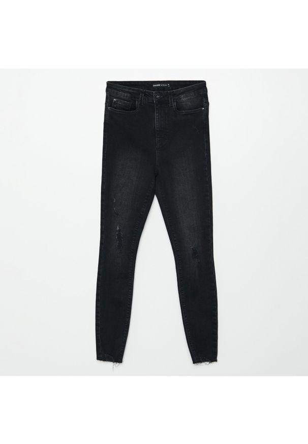 Cropp - Jeansy super high waist - Szary. Stan: podwyższony. Kolor: szary