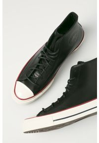 Czarne wysokie trampki Converse z okrągłym noskiem, na sznurówki