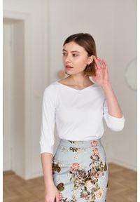 Marie Zélie - Bluzka Primula biała. Okazja: na co dzień. Typ kołnierza: kokarda. Kolor: biały. Materiał: tkanina, dzianina, elastan, skóra, materiał, bawełna. Sezon: lato. Styl: elegancki, casual