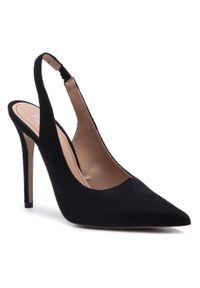 Czarne sandały Kazar w kolorowe wzory, klasyczne