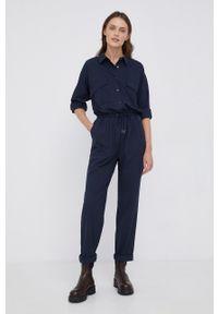 Pepe Jeans - Kombinezon Norma. Kolor: niebieski. Materiał: tkanina. Długość rękawa: długi rękaw. Długość: długie