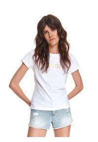 TOP SECRET - T-shirt damski z napisem. Kolor: biały. Materiał: tkanina, bawełna. Długość rękawa: krótki rękaw. Długość: krótkie. Wzór: napisy. Sezon: lato. Styl: klasyczny