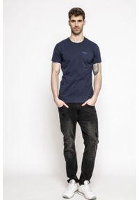 Niebieski t-shirt Pepe Jeans na co dzień, z okrągłym kołnierzem, z nadrukiem, casualowy