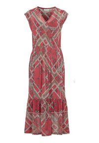 Czerwona sukienka Freequent na ramiączkach, kopertowa, z dekoltem w serek