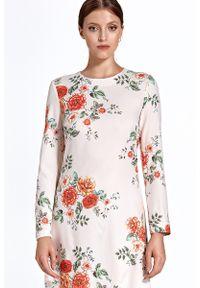 Sukienka prosta, w kwiaty, z długim rękawem