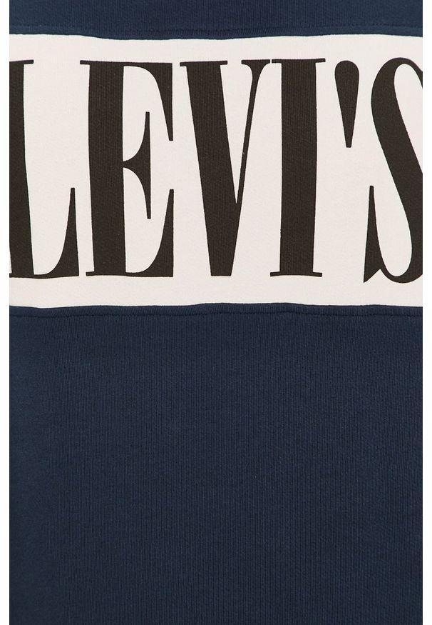 Niebieska bluza nierozpinana Levi's® z nadrukiem, na co dzień, z okrągłym kołnierzem, biznesowa