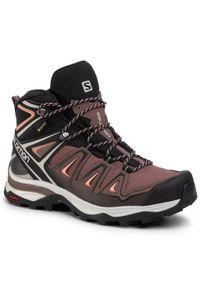 Brązowe buty trekkingowe salomon trekkingowe, z cholewką, Gore-Tex