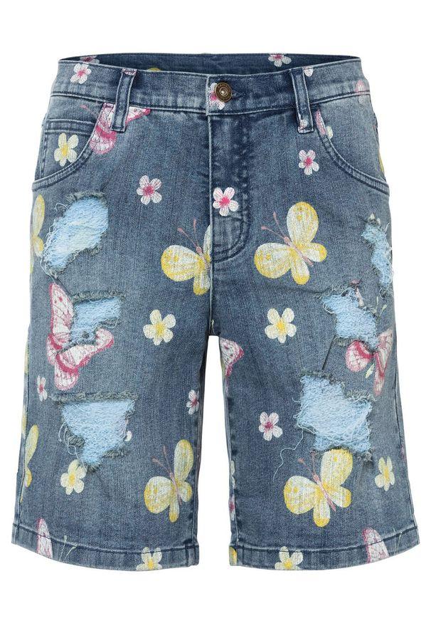"""Szorty dżinsowe z przetarciami bonprix niebieski """"stone"""" w roślinny wzór. Kolor: niebieski. Wzór: nadruk, aplikacja, kwiaty"""