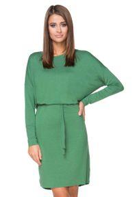 Tessita - Zielona Sukienka z Wiązanym Paskiem. Kolor: zielony. Materiał: wiskoza, elastan, akryl