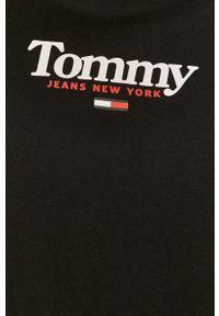 Czarna bluzka z długim rękawem Tommy Jeans na co dzień, z nadrukiem
